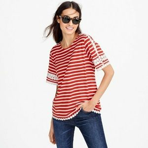 J. Crew Relaxed Red Stripe Crochet Trim Tee Small